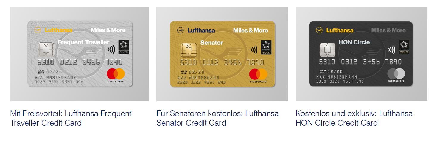 Übersicht der möglichen Miles and More Kreditkarten.
